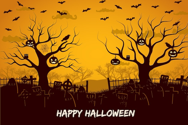 Happy halloween composition with birds and lanterns at trees cemetery and flying bats at sunset Free Vector