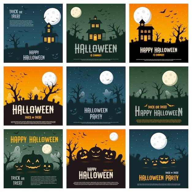 Happy halloween concept on orange, blue and green background,  illustration Premium Vector