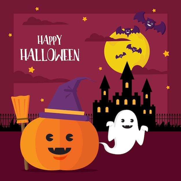Happy halloween concept pumpkin witch hat and ghost Premium Vector