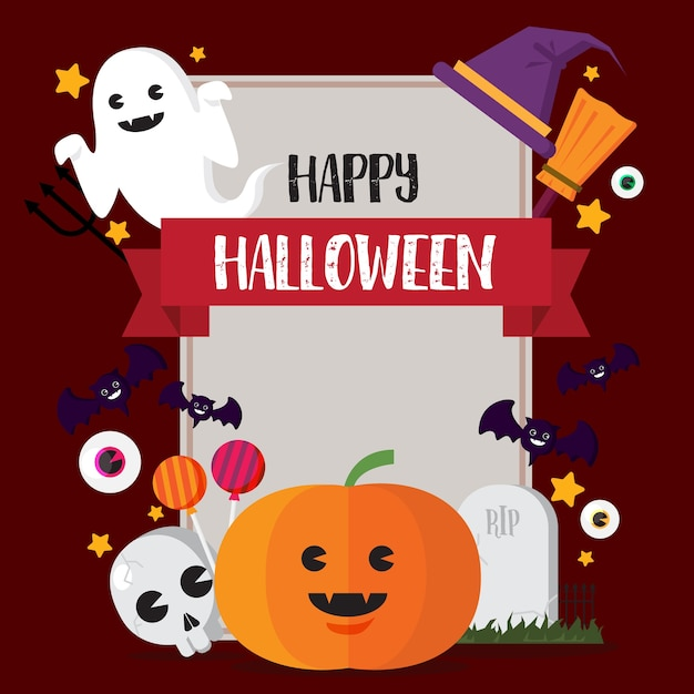 Happy halloween concept pumpkin and witch hat and skull Premium Vector
