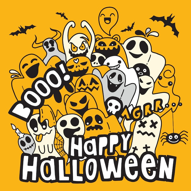 Happy halloween contour outline doodle. paper  background , vector illustration Premium Vector