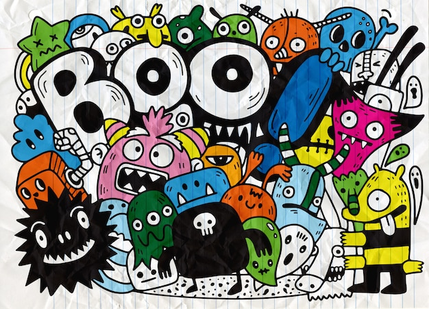 Happy halloween contour outline doodle. paper  background , vector illustration Premium Vector