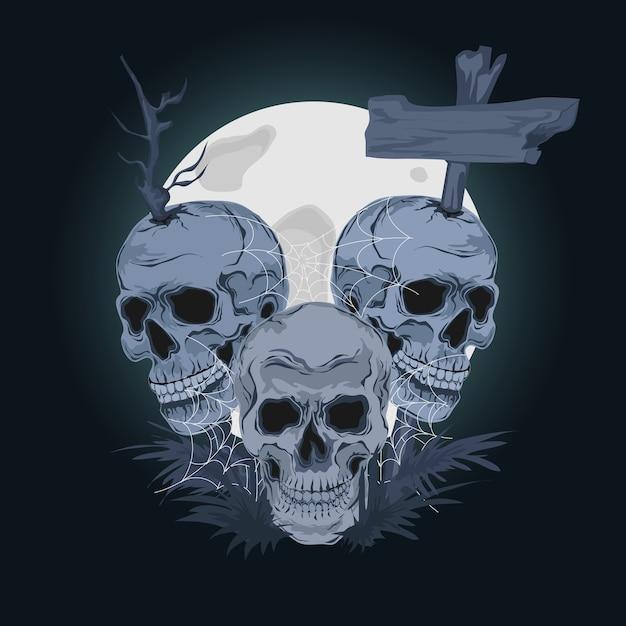 ハッピーハロウィン。不気味な頭蓋骨のイラスト Premiumベクター
