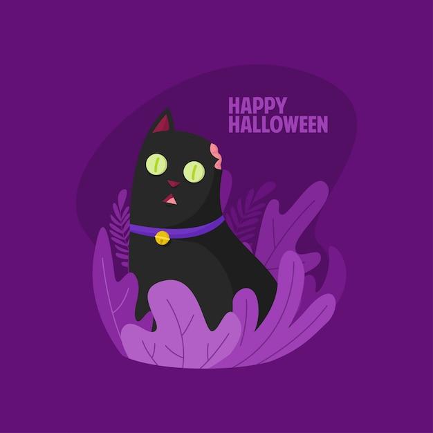 Happy halloween cute zombie cat illustration Premium Vector