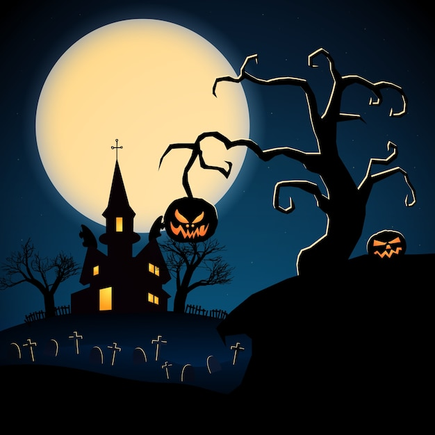 Happy halloween dark illustration with scary castle dry trees evil pumpkins graveyard Free Vector