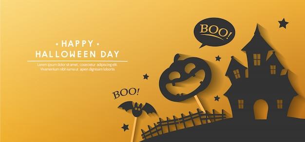 Happy halloween day banner Premium Vector