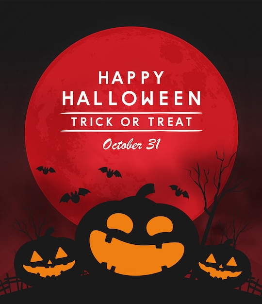 Happy halloween day banner Premium Vector
