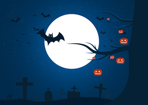 Happy halloween day on night background,halloween party Premium Vector