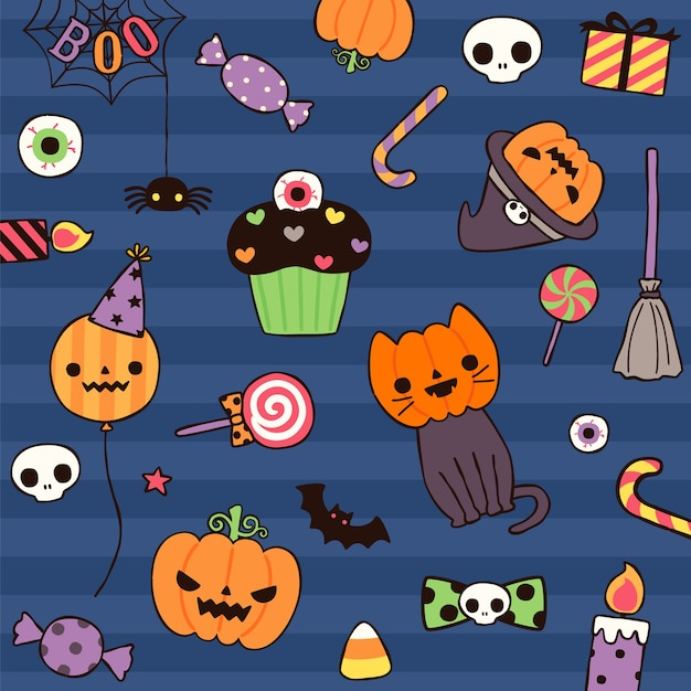 Happy halloween day with cute element in flat style Premium Vector
