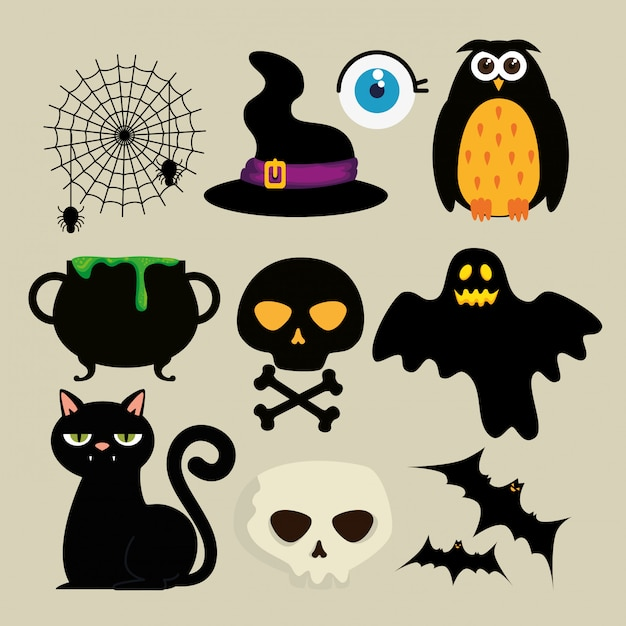 Happy halloween decoration set Free Vector