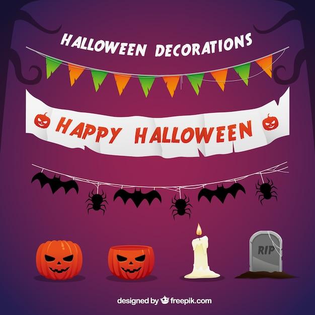 Happy halloween decorations Vector Free Download - Happy Halloween Decorations
