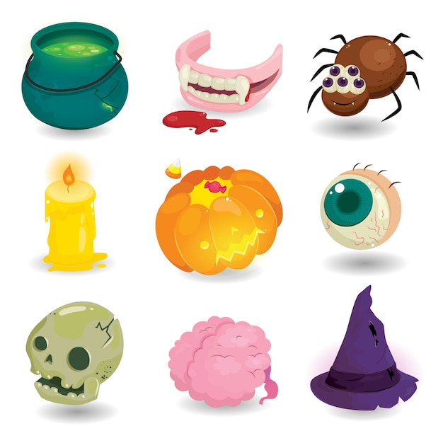 Happy halloween design elements isolated. set of  item horror halloween Premium Vector