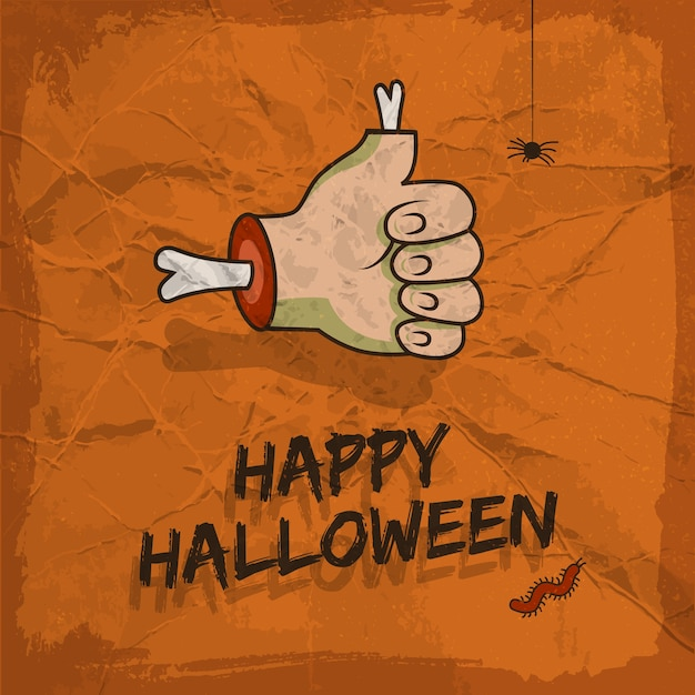 Happy halloween design with approval gesture hanging spider and worm Free Vector