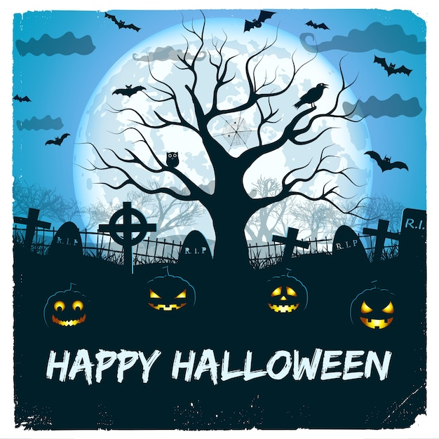 Happy halloween design with lanterns and cemetery with huge glowing moon and tree Free Vector