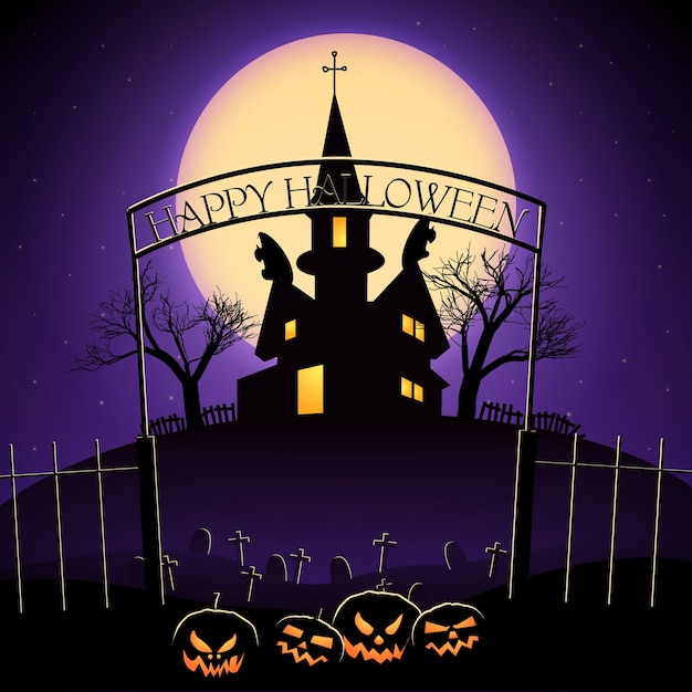 Happy halloween design with lanterns of jack cemetery and haunted house on huge moon background Free Vector
