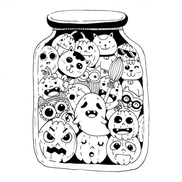 Happy halloween doodles style Premium Vector