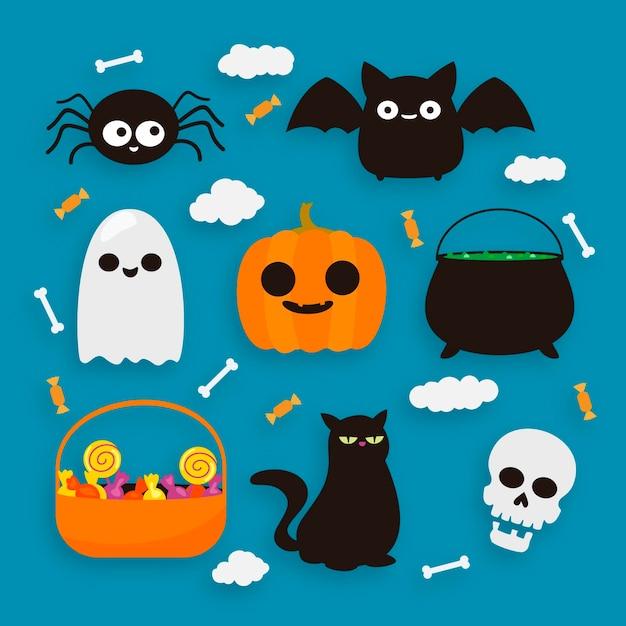 Счастливый хэллоуин дизайн коллекции элементов Бесплатные векторы
