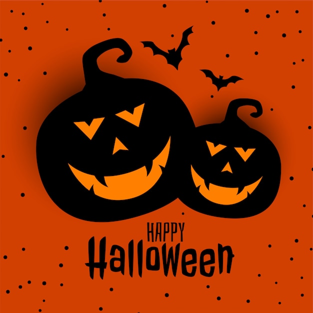 Happy halloween festival card with two pumpkin and bats Free Vector