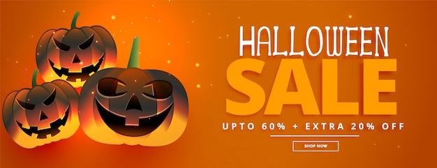Happy halloween festival sale banner with three pumpkins Free Vector