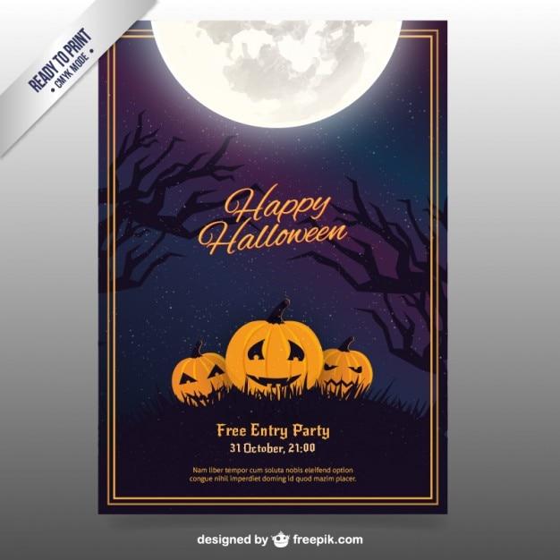 happy halloween flyer with pumpkins vector free download