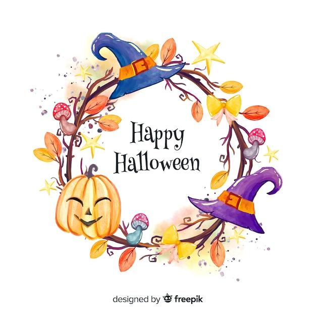 Happy halloween frame background Free Vector