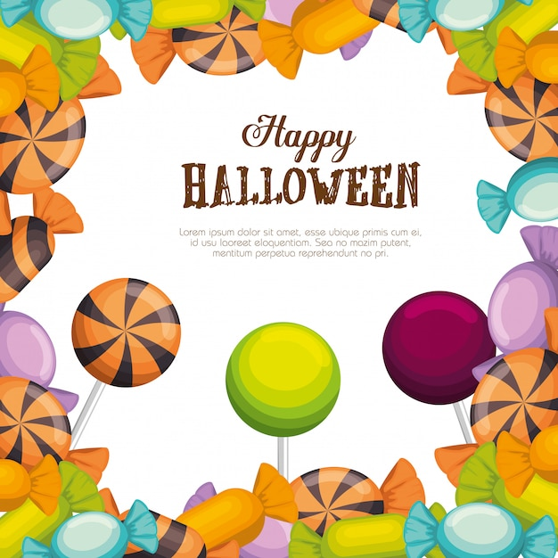 Happy halloween frame with candies Free Vector