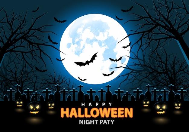 Happy Halloween Full Moon Night Party. Premium Vector