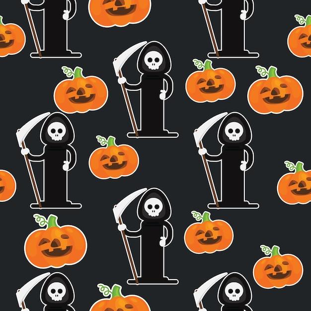 Happy halloween geometric pattern collection Premium Vector