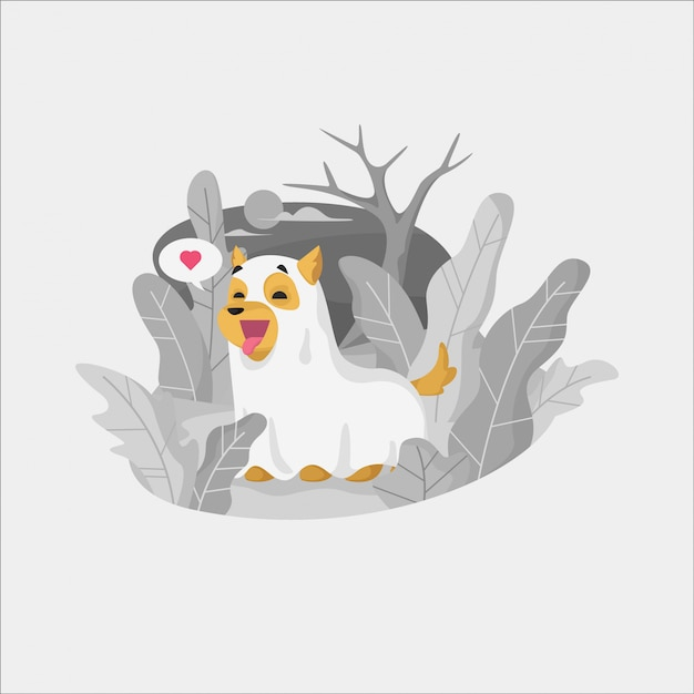 Happy halloween ghost dog playing outdoors illustration Premium Vector