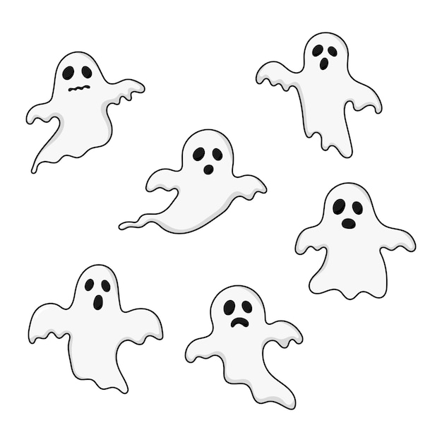 Happy halloween ghosts set icons. scary, spirit isolated on white. Premium Vector