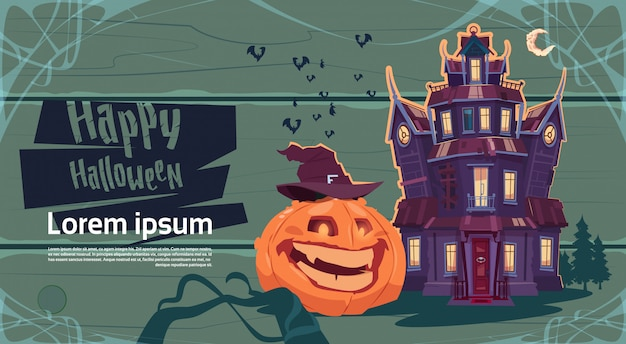Happy halloween gothic castle with pumpkin greeting card concept Premium Vector