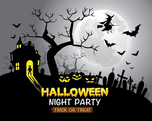 Happy Halloween Gray Moon Night Party. Premium Vector