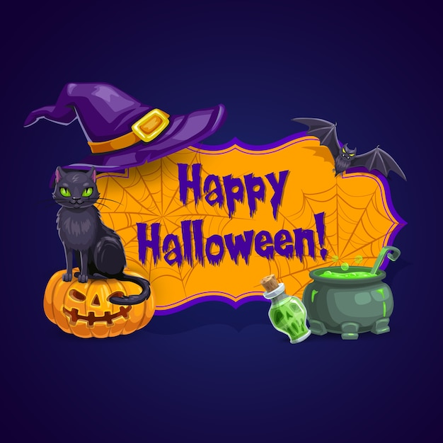 Happy halloween greeting card with bat, black cat sitting on pumpkin lantern, potion in bottle, witch hat and cauldron. halloween holiday cartoon poster with spider webs, characters and items Premium Vector