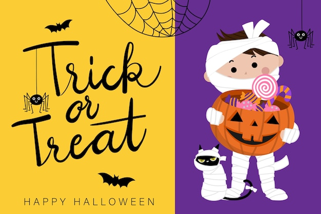 Happy halloween greeting card with cute mummy Premium Vector