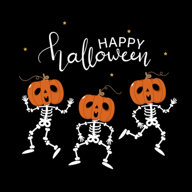 Happy halloween greeting card with cute skeleton and pumpkin dance Premium Vector