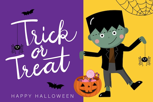 Happy halloween greeting card with cute zombie and spider Premium Vector