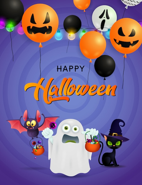 Happy halloween greeting card with ghost, bat with sweets and black cat Free Vector