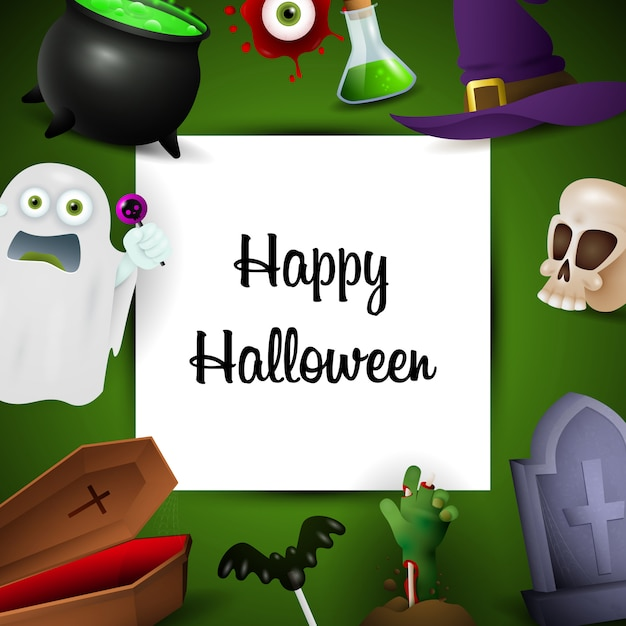 Happy halloween greeting card with holiday symbols Free Vector