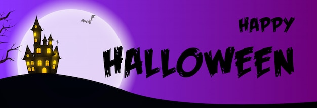 Happy halloween greeting card with house on purple Free Vector