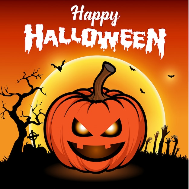 Happy halloween greeting card with night with full moon and scary pumpkins Premium Vector