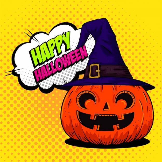 Happy halloween greeting card with pumpkin with witch hat in pop-art style Free Vector