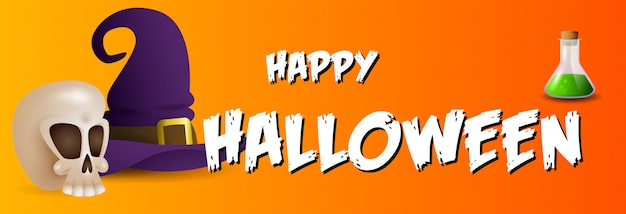 Happy halloween greeting card with skull, potion and hat Free Vector