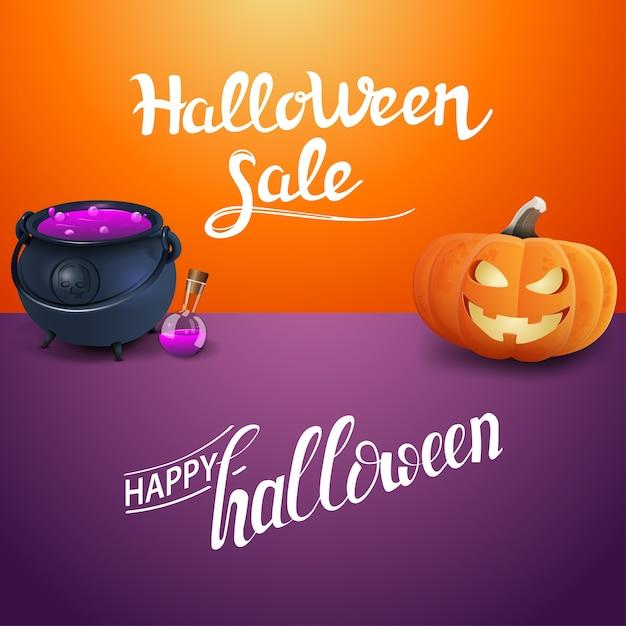 Happy halloween and halloween sale Premium Vector