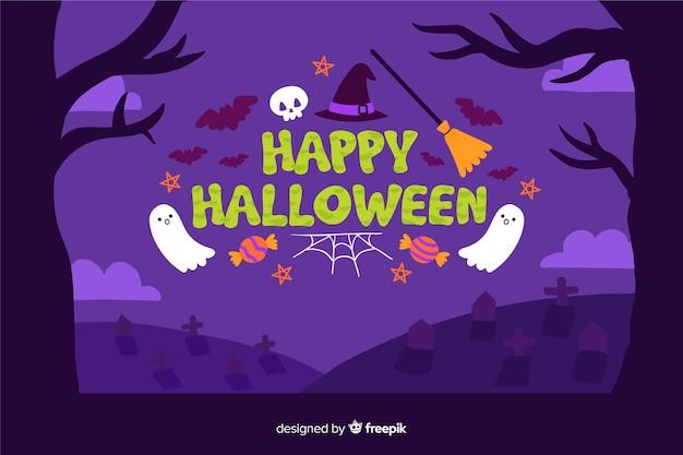 Happy halloween hand drawn background Free Vector