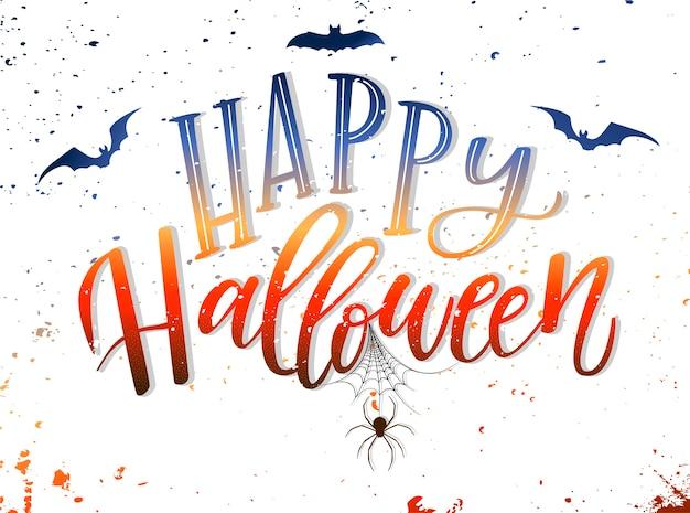 'happy halloween' hand lettering card design Premium Vector