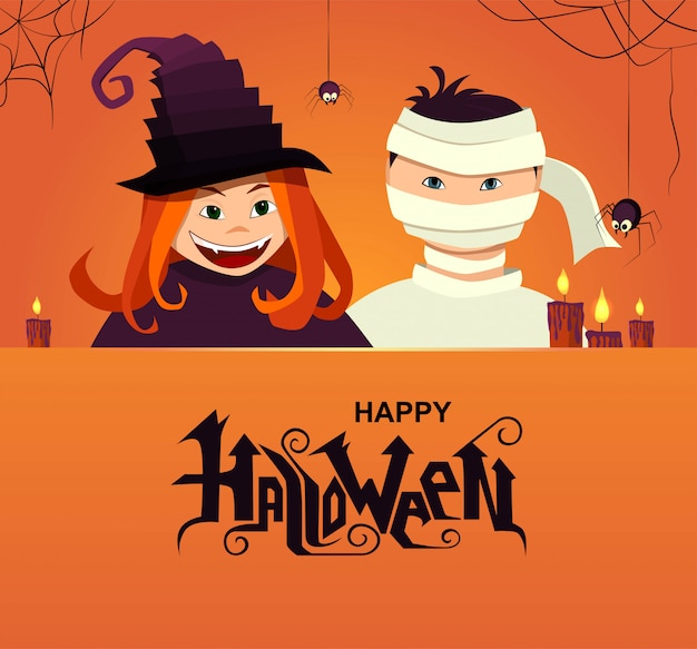 Счастливый хэллоуин ручной надписи текст. ведьма и дьявол персонажи с пауками и свечами. Premium векторы