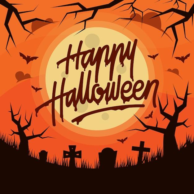 Happy halloween handlettering typography design Premium Vector