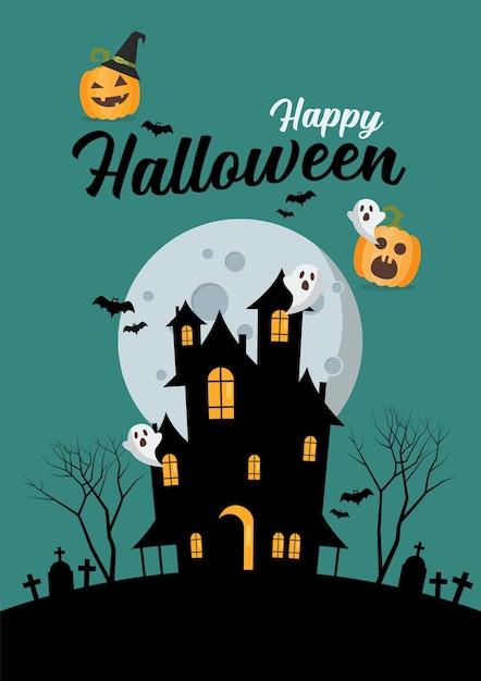Premium Vector Happy Halloween Haunted House Illustration