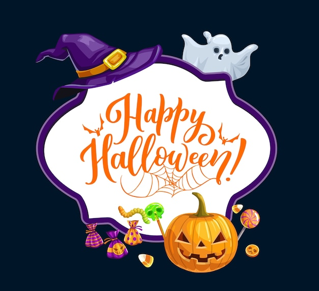 Happy halloween holiday, trick or treat horror party frame. halloween scary pumpkin lantern, ghost and witch hat, monster sweets and candies skull lollipop, worms, bat and spider web Premium Vector