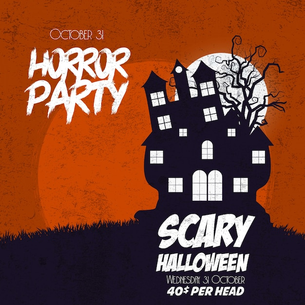 Happy halloween horror party background Free Vector